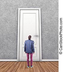 Man before a door - Man before a big door in fear of the...