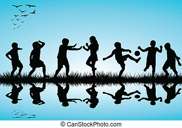 Group of children silhouettes playing outdoor near a lake