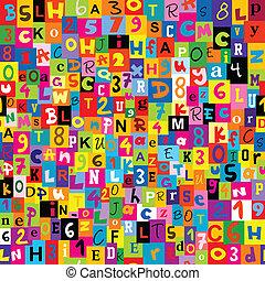 alfabeto, letras,  seamless, fundo