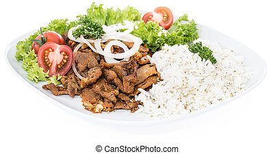Plate with Kebab and Rice on white - Plate with Kebab and...
