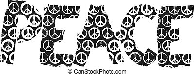"peace sign  - stylized word ""peace"" with peace sign"