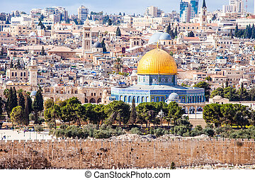 Mousque of Al-aqsa Dome of the Rock in Old Town - Jerusalem,...