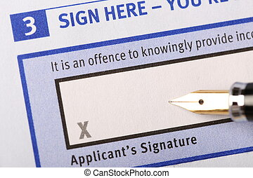 Applicants signature - Business man prepare to signature on...
