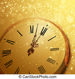 New Years at midnight - Old clock with stars snowflakes and...