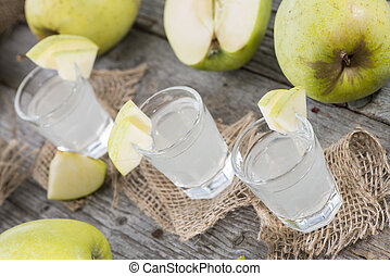 Fresh made Apple Liqueur - Fresh homemade Apple Liqueur with...