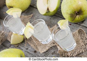 fresco, hecho, manzana, licor