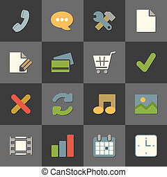 Online shopping website iconset, color flat