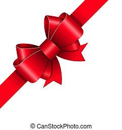 Red ribbon bow gift design element vector illustration