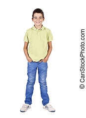 boy standing isolated on white