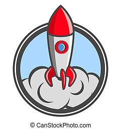 Beginnen, Auf, Rakete, emblem