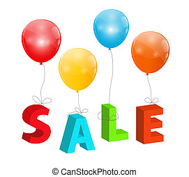 Balloons with Sale Letters . Concept of Discount. Vector Illustration