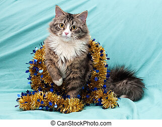 Tabby cat with yellow eyes playing with golden Christmas...