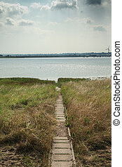 View of footpath to River Thames - Narrow footpath down to...