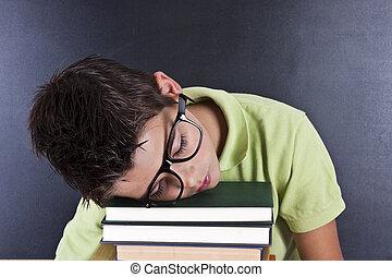 書, 年輕, 人, 睡覺