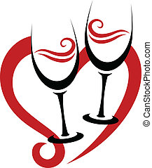 Two Abstract Glasses of Red Wine and Heart - Two Abstract...