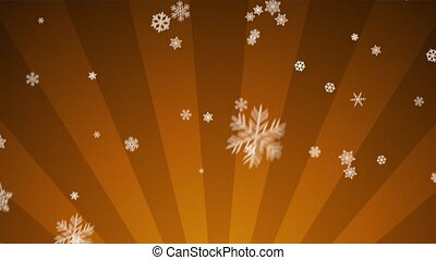 Ornamental Snow on Orange Radial - Decorative ornamental...