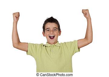 niño, Celebrar, brazos, levantado