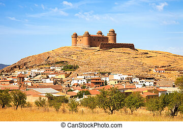Castle on hill, medieval Castillo de La Calahorra and...