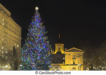 Christmas Holiday Tree at Pioneer Courthouse Square in...