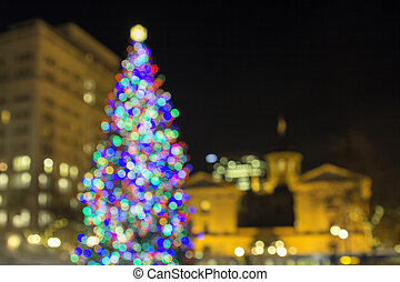 Christmas Tree at Pioneer Courthouse Square Bokeh Lights -...