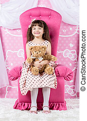 Little Girl Hugging Teddy Bear - Little girl princess...