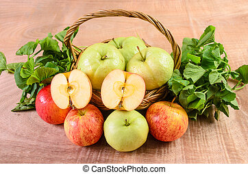 Guava and Asiatic in the basket on wood background