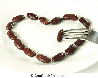 Red bean heart, isolated - Heart shape made with red kidney...
