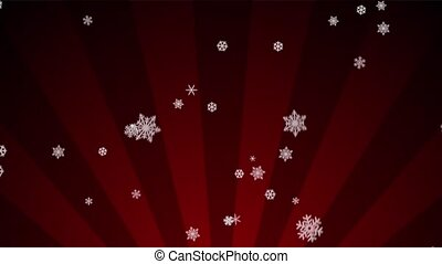 Ornamental Snow on Red Radial Loop - Decorative ornamental...