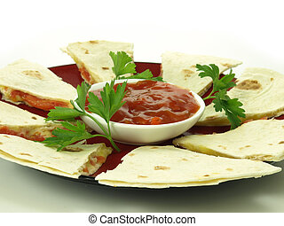 Quesadilla - Traditional mexican quesadilla with cheese and...