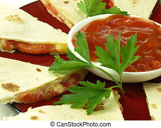 Mexican quesadilla, closeup - Mexican quesadilla with cheese...