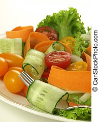 Vegetarian salad, closeup - Vegetarian salad with fresh...