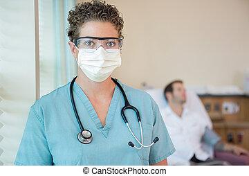 Enfermera, en, protector, ropa, con, paciente, en, Plano de...