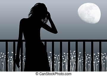 Woman costs near a balcony and looks at the moon
