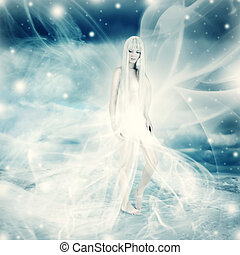 fairy woman on snow winter background - Frozen fairy woman...