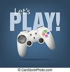 Gamepad - Realistic white gamepad on blue. EPS10 vector.