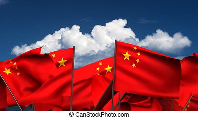 Waving Chinese Flags (seamless & alpha channel)