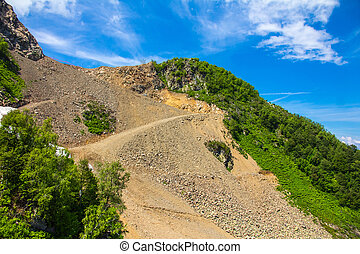 scree on the mountain slope