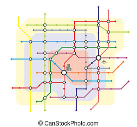 metro - stylized illustration of a metro system map