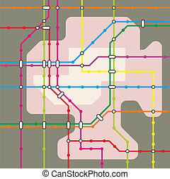 metro - abstract illustration of a metro system map