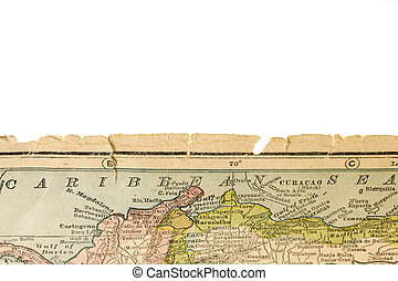 torn and worn edge of antique map printed in 1926 -...