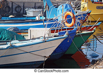 Fishing boats in Acre port Israel