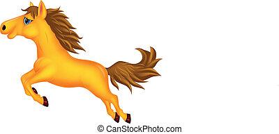 Beautiful golden horse cartoon runn