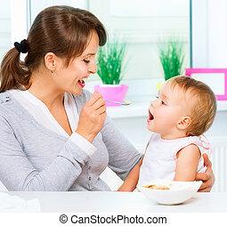 mãe, alimentação, dela, bebê,...