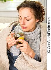 Bebida, mujer, gripe, dolor de cabeza, caliente, enfermo