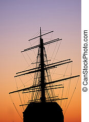 ship silhouette in a sunset