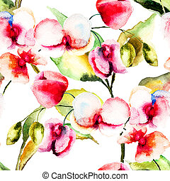 Seamless pattern with Pink orchids flowers, watercolor...