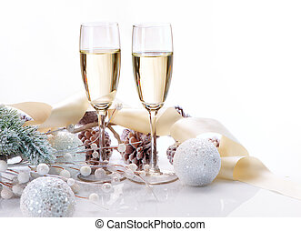 Two Champagne Glasses Christmas Celebration