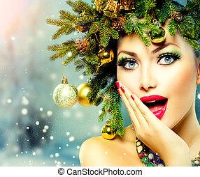 Natal, mulher, Natal, árvore, feriado, penteado,...
