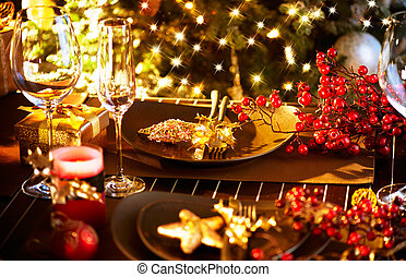 Christmas And New Year Holiday Table Setting. Celebration