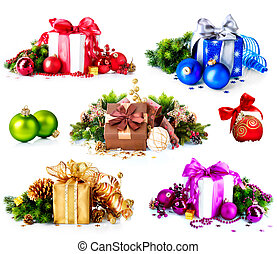 Christmas Collage of Colorful New Years Gifts and...